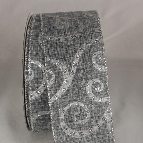 "Silver Swirl Motif Wired Craft Ribbon 2.5"" x 20 Yards - IMAGE 1"