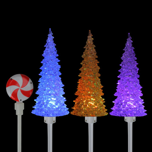 Stake Christmas Trees: Set Of 3 Pre-Lit Musical Christmas Tree Pathway Marker