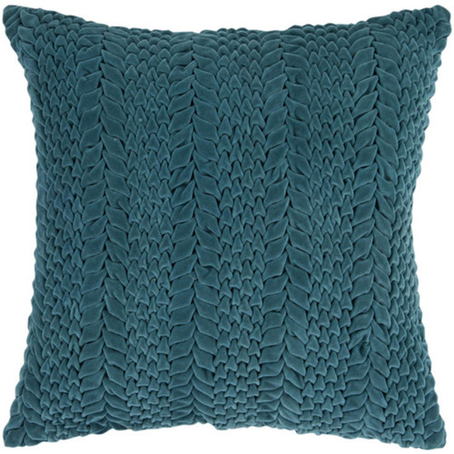 "22"" Emerald Blue Scale Textured Decorative Throw Pillow - Down Filler - IMAGE 1"