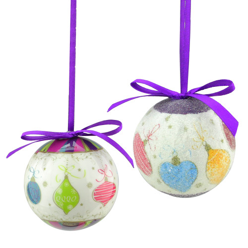 """8pc Purple and White Decoupage Shatterproof Christmas Ball Ornaments 2.25"""" (57mm) - IMAGE 1"""