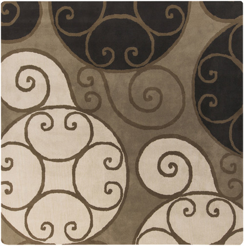 9.75' x 9.75' Brown and Black Contemporary Hand Tufted Square Wool Area Throw Rug - IMAGE 1