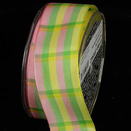 """Yellow and Pink Summer Plaid Wired Craft Ribbon 1.5"""" x 27 Yards - IMAGE 1"""