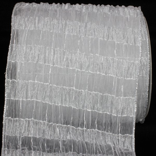 "White and Silver Sheer Isadora Plaid Wire Edged Craft Ribbon 6"" x 20 Yards - IMAGE 1"