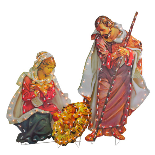 """48"""" Yellow and Red Fontanini Holy Family Lighted Nativity Christmas Outdoor Decoration - IMAGE 1"""