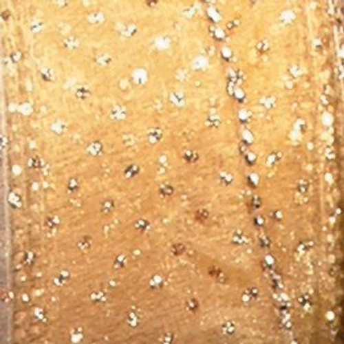 "Shimmering Gold Semi Sheer Brooklyn Wired Edge Craft Ribbon 2"" x 20 Yards - IMAGE 1"