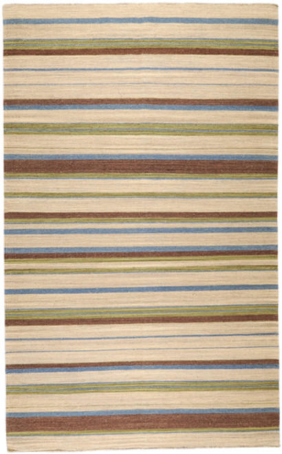 3.5 x 5.5' Neoteric Brown and Green Hand Woven Striped Rectangular Wool Area Throw Rug - IMAGE 1