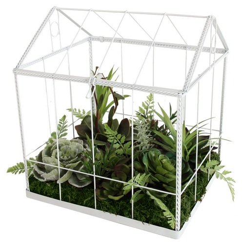 "10"" Green and White Artificial Succulent Garden House Tabletop Decor - IMAGE 1"