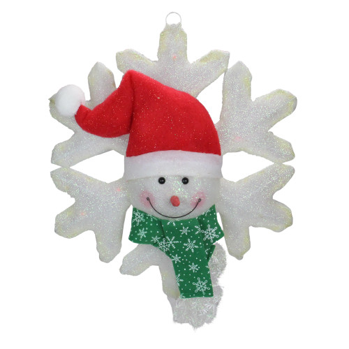 """20"""" Prelit Battery Operated LED Snowman and Snowflake Christmas Wall Decoration - IMAGE 1"""