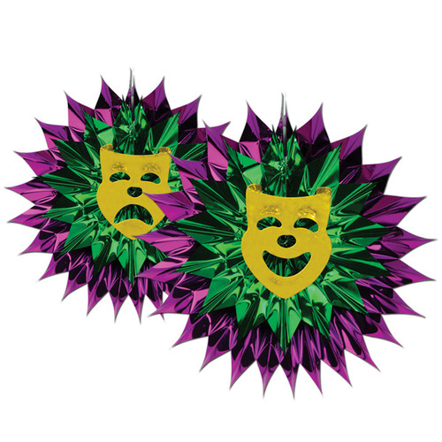 """Club Pack of 12 Purple and Green Mardi Gras Hanging Fan Decors 15"""" - IMAGE 1"""