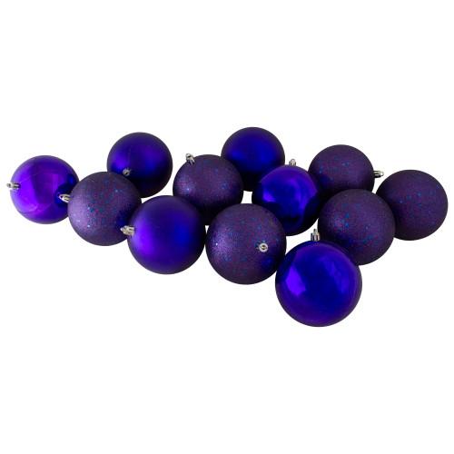 "12ct Indigo Blue Shatterproof 4-Finish Christmas Ball Ornaments 4"" (100mm) - IMAGE 1"