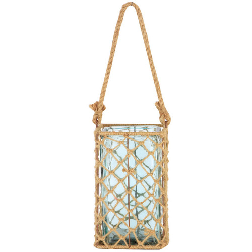 """9.5"""" Decorative Teal Glass and Jute Square Pillar Candle Holder with Handle - IMAGE 1"""