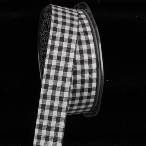 "Black and White Gingham Cut Edge Craft Ribbon 1"" x 132 Yards - IMAGE 1"