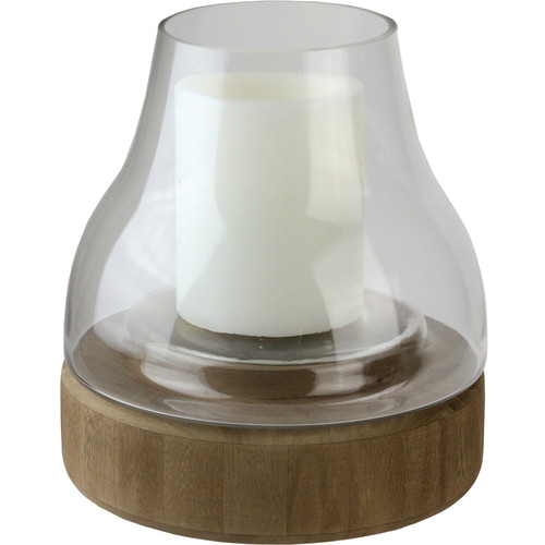 """10.25"""" Transparent Glass Pillar Candle Holder with Wooden Base - IMAGE 1"""