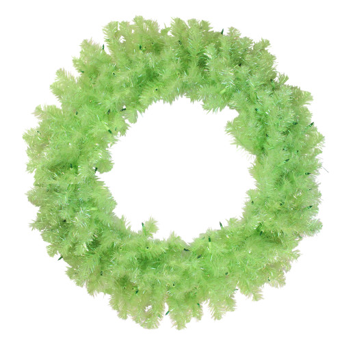"""36"""" Pre-Lit Chartreuse Green Wide Cut Artificial Christmas Wreath - Green Lights - IMAGE 1"""
