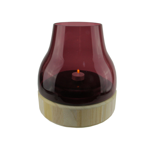 "9.75"" Merlot Colored Glass Pillar Candle Holder with Wooden Base - IMAGE 1"