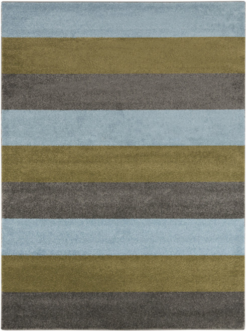 9.25' x 12.5' Bold Strips Olive Green and Denim Blue Shed-Free Area Throw Rug - IMAGE 1