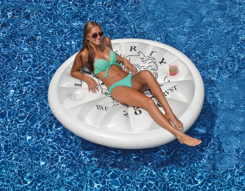Inflatable White and Black Swimming Pool Floating Raft, 60-Inch - IMAGE 1