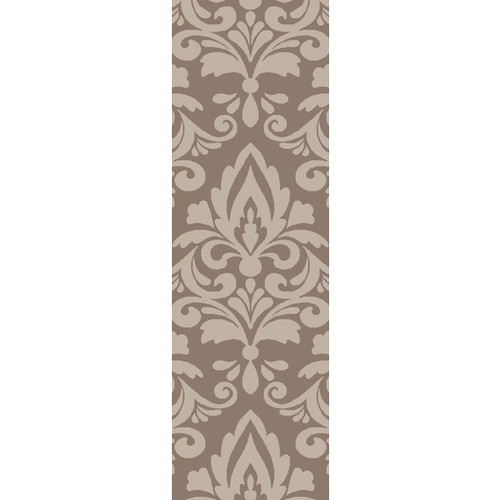 2.5' x 8' Extravagant Brown and Ivory Hand Woven Rectangular Wool Area Throw Rug Runner - IMAGE 1