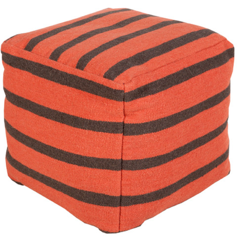 "18"" Vermillion Orange and Charcoal Gray Simply Striped Wool Square Pouf Ottoman - IMAGE 1"
