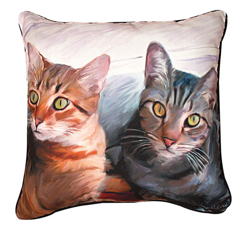 """18"""" Gray and Brown Cats Outdoor Patio Square Throw Pillow - IMAGE 1"""