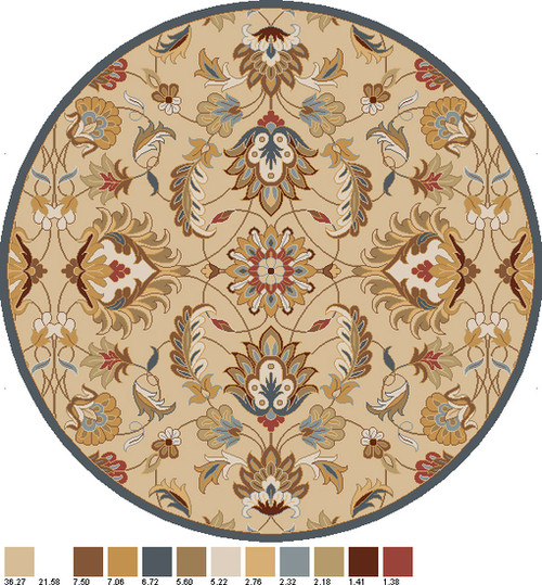 6' Flavian Caramel Brown and Tan White Hand Tufted Wool Round Area Throw Rug - IMAGE 1