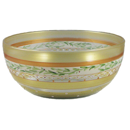 "11"" Gold Mosaic Garland and Stripes Hand Painted Glass Serving Bowl - IMAGE 1"