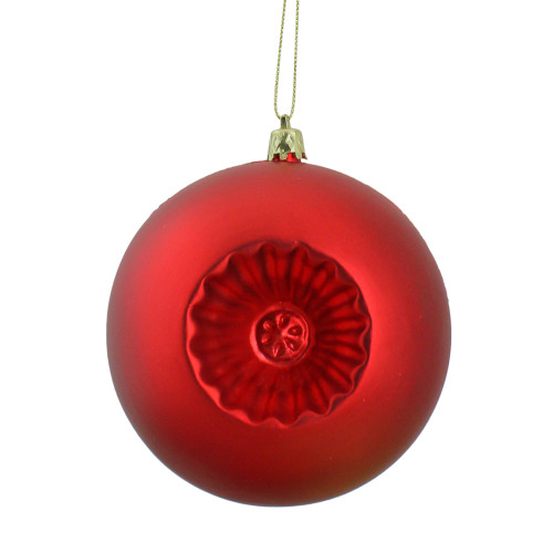 """6ct Red Shatterproof Matte Christmas Ball Ornaments 4"""" (100mm) - IMAGE 1"""