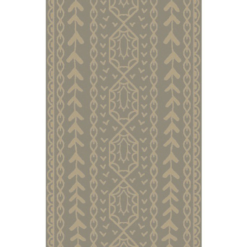 8' x 11' Beige and Gray Hand Knotted Area Throw Rug - IMAGE 1
