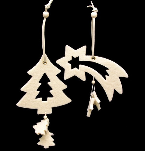 Club Pack of 18 Ivory White Tree And Shooting Star Felt Ornaments - IMAGE 1