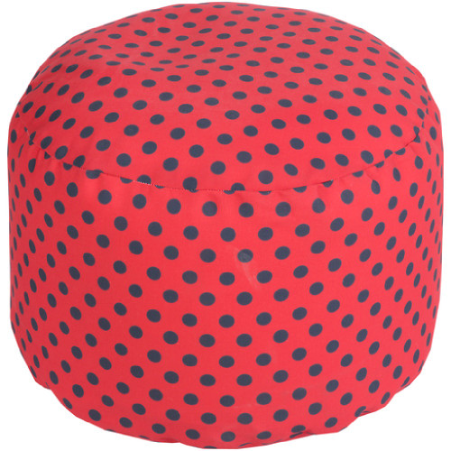 "20"" Cherry Red and Navy Blue Simply Polka Dot Round Outdoor Patio Pouf Ottoman - IMAGE 1"