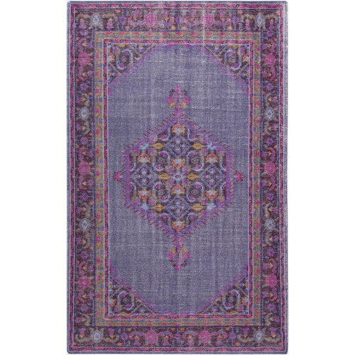 3.5' x 5.5' Orchid Purple and Fuchsia Pink Wool Rectangular Area Throw Rug - IMAGE 1