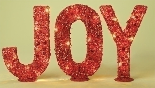 "3pc Pre-Lit Red Glitter Sequined 'JOY' Christmas Tabletop Signs 14"" - IMAGE 1"