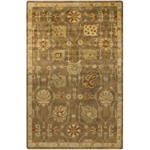 2' x 3' Brown and Beige Contemporary Hand Knotted Area Throw Rug - IMAGE 1