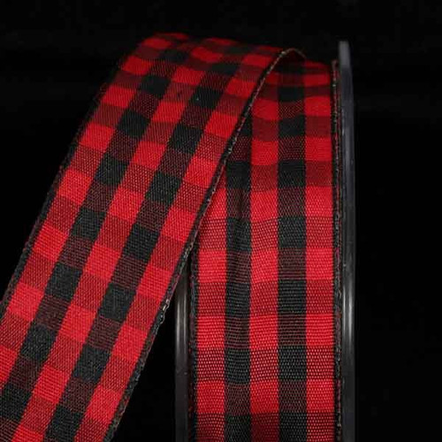 """Black and Red Gingham Wired Woven Edge Craft Ribbon 0.25"""" x 108 Yards - IMAGE 1"""