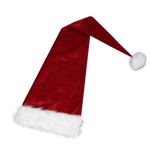Red and White Extra Long Unisex Adult Christmas Santa Hat Costume Accessory - One Size - IMAGE 1