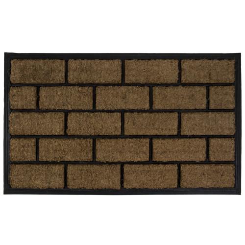 "Brown and Black Brick Rectangular Doormat 18"" x 29.5"" - IMAGE 1"