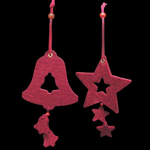 """Club Pack of 18 Burgundy Red Bell and Star """"Felt Ornaments - IMAGE 1"""