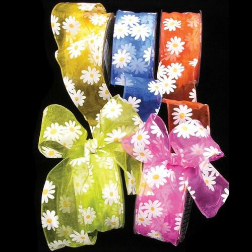 """Yellow Organdy with Daisy Print Wired Craft Ribbon 2"""" x 54 Yards - IMAGE 1"""