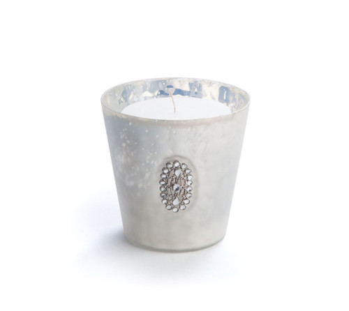 """4"""" Glamour Time Hayworth Platinum Silver Glass Votive Christmas Candle Holder with Jewel Medallion - IMAGE 1"""