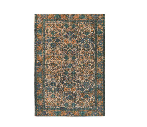 8' x 10' Mama's Garden Sand Brown and Cadet Blue Hand Woven Area Throw Rug - IMAGE 1