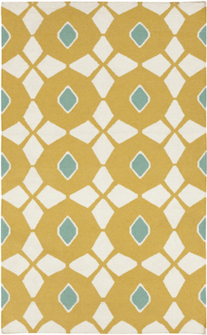 8' x 11' Diamondoid Fantasia Teal Blue and Brown Hand Woven Rectangular Wool Area Throw Rug - IMAGE 1