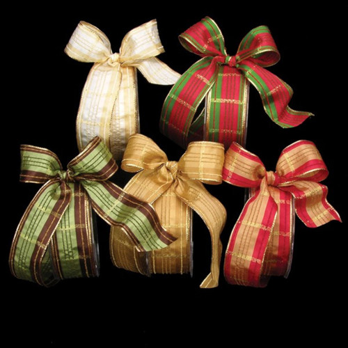 """Gold Festive Plaid French Wired Craft Ribbon 1.5"""" x 27 Yards - IMAGE 1"""