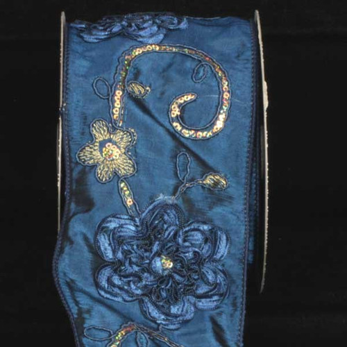"Navy Blue and Gold Embroidered Floral Wired Craft Ribbon 4"" x 10 Yards - IMAGE 1"