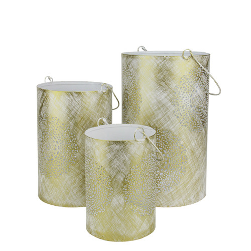 """Set of 3 White and Gold Decorative Floral Cut-Out Pillar Candle Lanterns 10"""" - IMAGE 1"""
