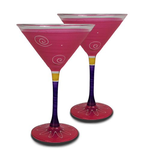 Set of 2 Pink and White Hand Painted Martini Drinking Glasses 7.5 oz. - IMAGE 1