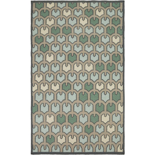 8' x 11' Bohemian Frame Green and Beige Contemporary Hand Woven Rectangular Wool Area Throw Rug - IMAGE 1