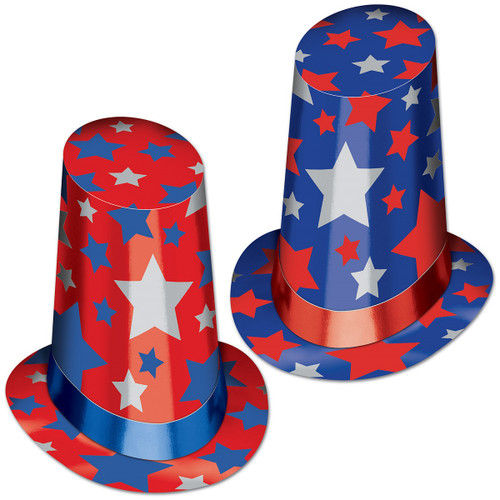 """Club Pack of 10 Red, White and Blue Patriotic Super Hi-Hat Costume Accessories 13"""" - IMAGE 1"""
