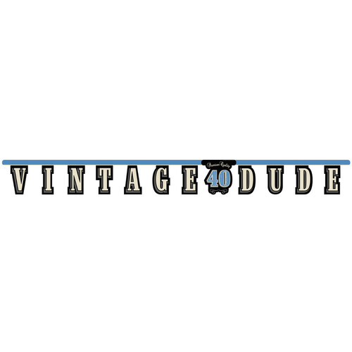 Club Pack of 12 Blue and Black Vintage Dude 40 Large Jointed Party Banners 5.5' - IMAGE 1