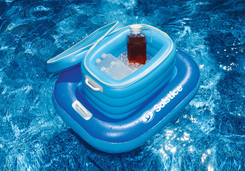 """33"""" Floating Inflatable Cooler Blue and White Beverage Holder with Base - IMAGE 1"""