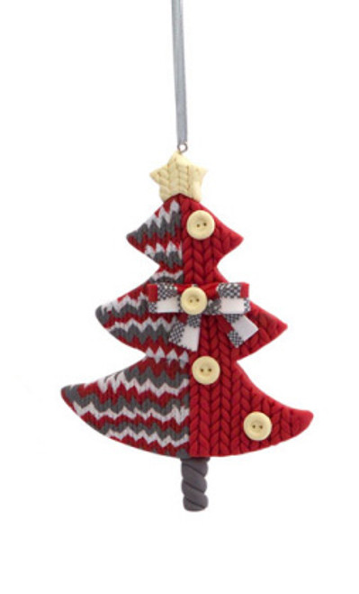 """4.75"""" Alpine Chic Red, White and Gray Knit Style Christmas Tree Ornament - IMAGE 1"""